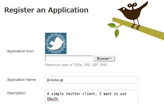 twitter application register