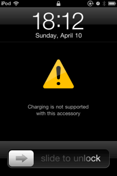 ipod touch no charging alert