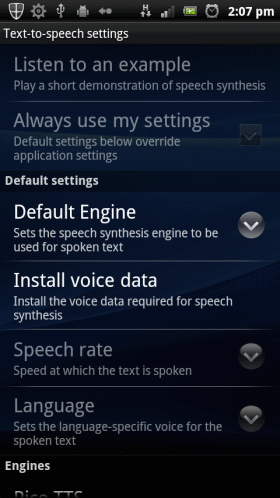 Voide input & output - Text-to-Speach settings