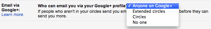 prevent email from google+