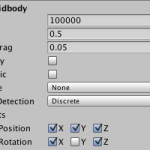 Unity で rigidbody の位置,回転の固定をスクリプトから変更する