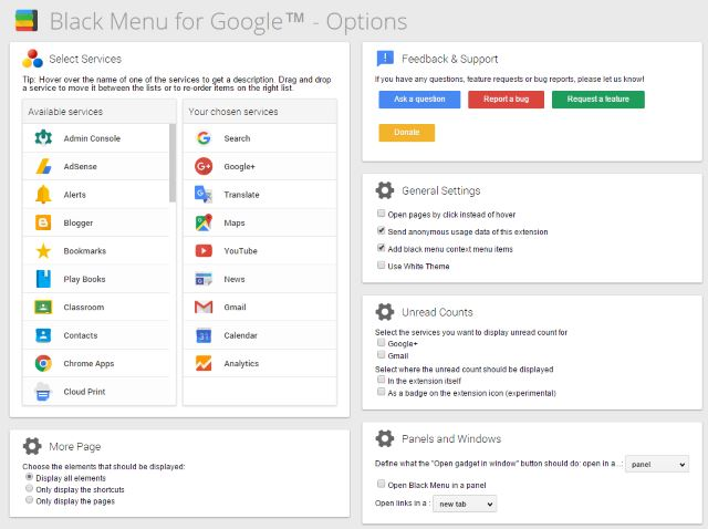 chrome-black-menu-options
