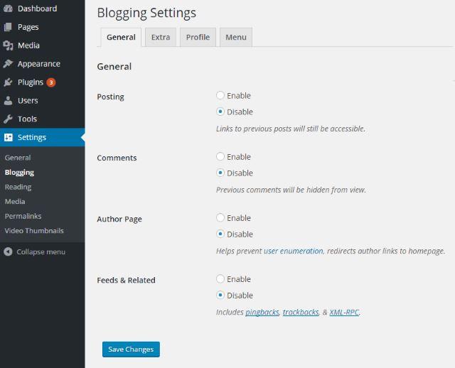 wordpress-disable-blogging