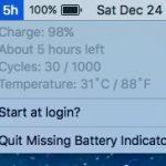 macOS Sierra でもバッテリーがあとどれ位使えるのかを表示する為のアプリ Missing Battery Indicator